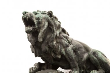 lion sculpture, isolated on white