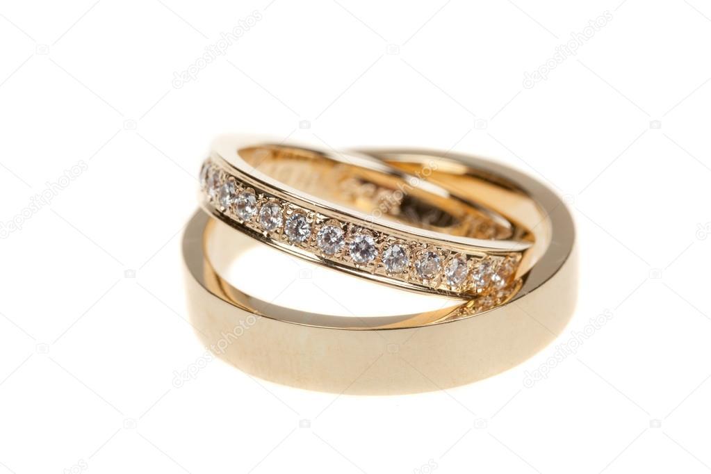 Goldene Hochzeit Ringe Isoliert Auf Weiss Stockfoto C Dechevm