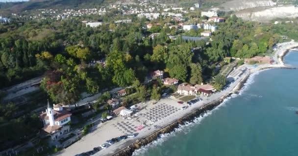 4k aerial video of Balchik famous Castle and Botanical Garden in Balchik, Bulgaria