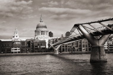 St. Paul's Cathedral and the Millennium Bridge in London. Black and White