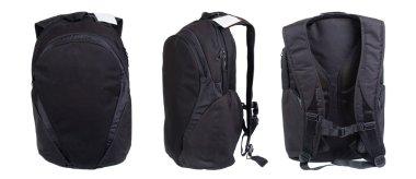 Black backpack isolated on white. Product studio shots