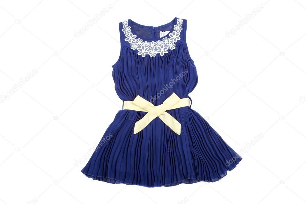 0a8af06f81cff4 Синій дітей плаття з wellow стрічкою, ізольовані на білому– стокове  зображення