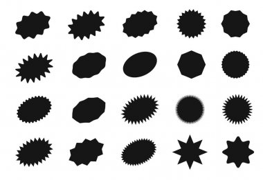 Starburst sticker set for promo sale. Vector badge shape design - star and oval price offer promotion. Simple collection graphic empty black sign stickers for promotion isolated on white background icon