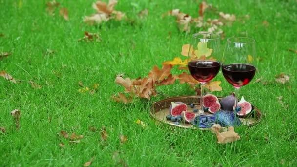 podzimní Zátiší s červeným vínem a berry