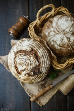 Artisan bread over wooden background