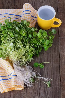 Bunch of watercress on a rustic wooden background