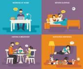 Fotografie Familie mit Kinder Konzept flache Icons set von Menschen mit TabletPC und laptop