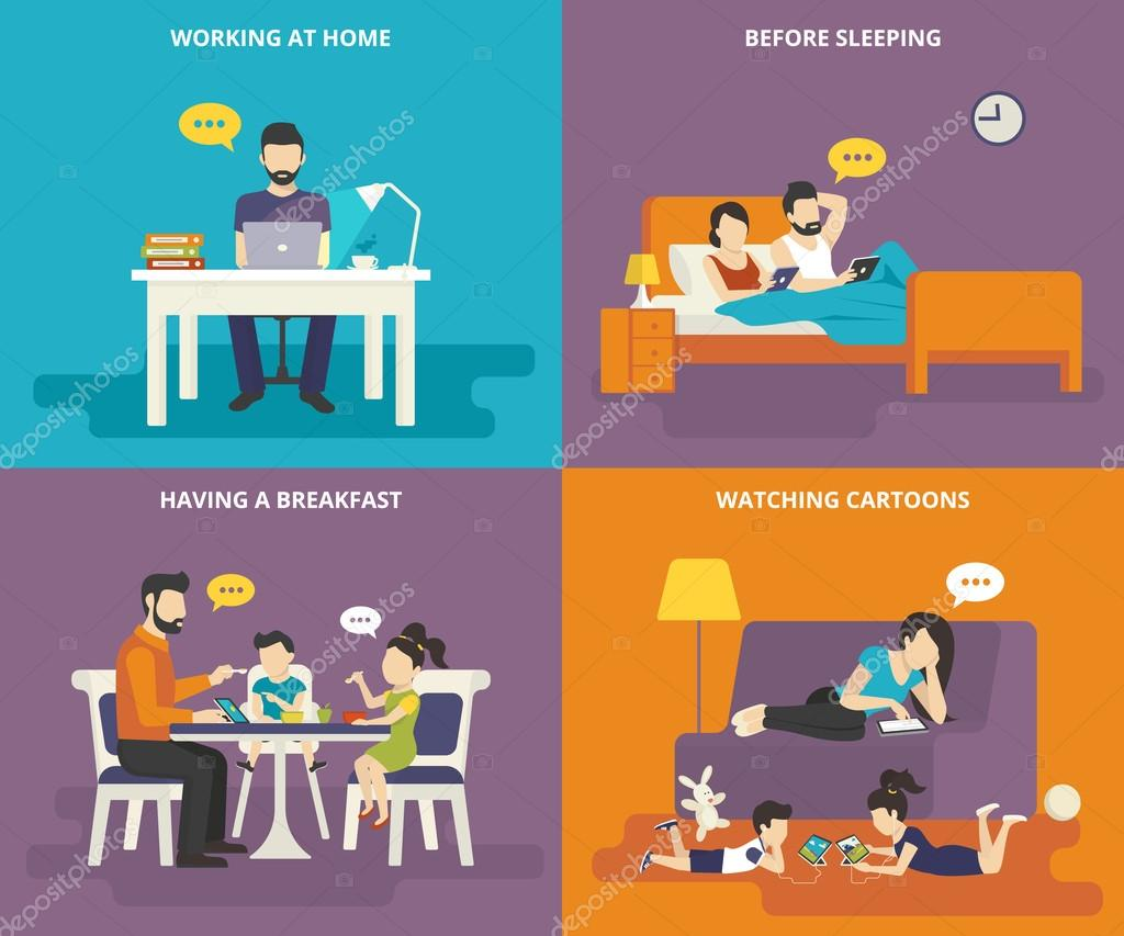 13ce57edfe6746 Gezin met kinderen concept plat pictogrammen set man thuis werken met de  laptop, leest Nieuws voordat slapen, een ontbijten, kijken cartoons op  tablet-pc.