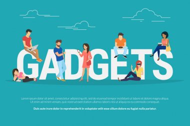 Gadgets concept illustration of young people using devices such as laptop, smartphone, tablets, smart watches and vr helmets