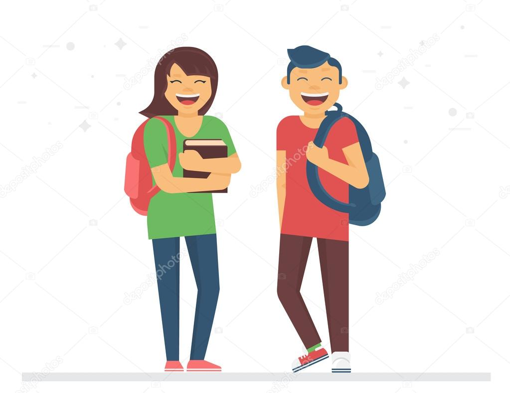 Jóvenes estudiantes o compañeros de clase con libros y bolsas ...