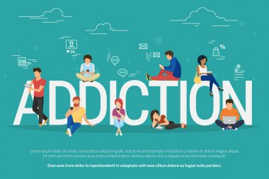 Addiction concept illustration of young people using devices such as laptop, smartphone, tablets. Flat design of people addicted to gadgets sitting on the bid letters with social media symbols stock vector