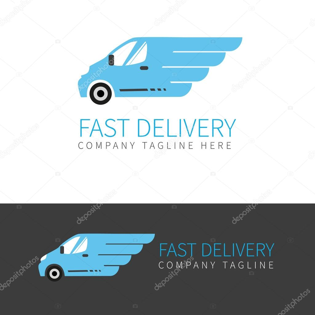 Blue delivery van logo