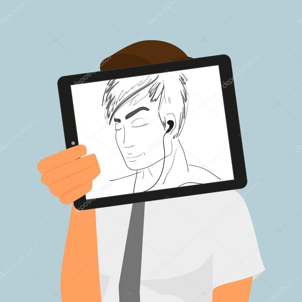 Chlap Drzi Pocitac Tablet Pc Zobrazovani Rucni Kresba Stock Vektor