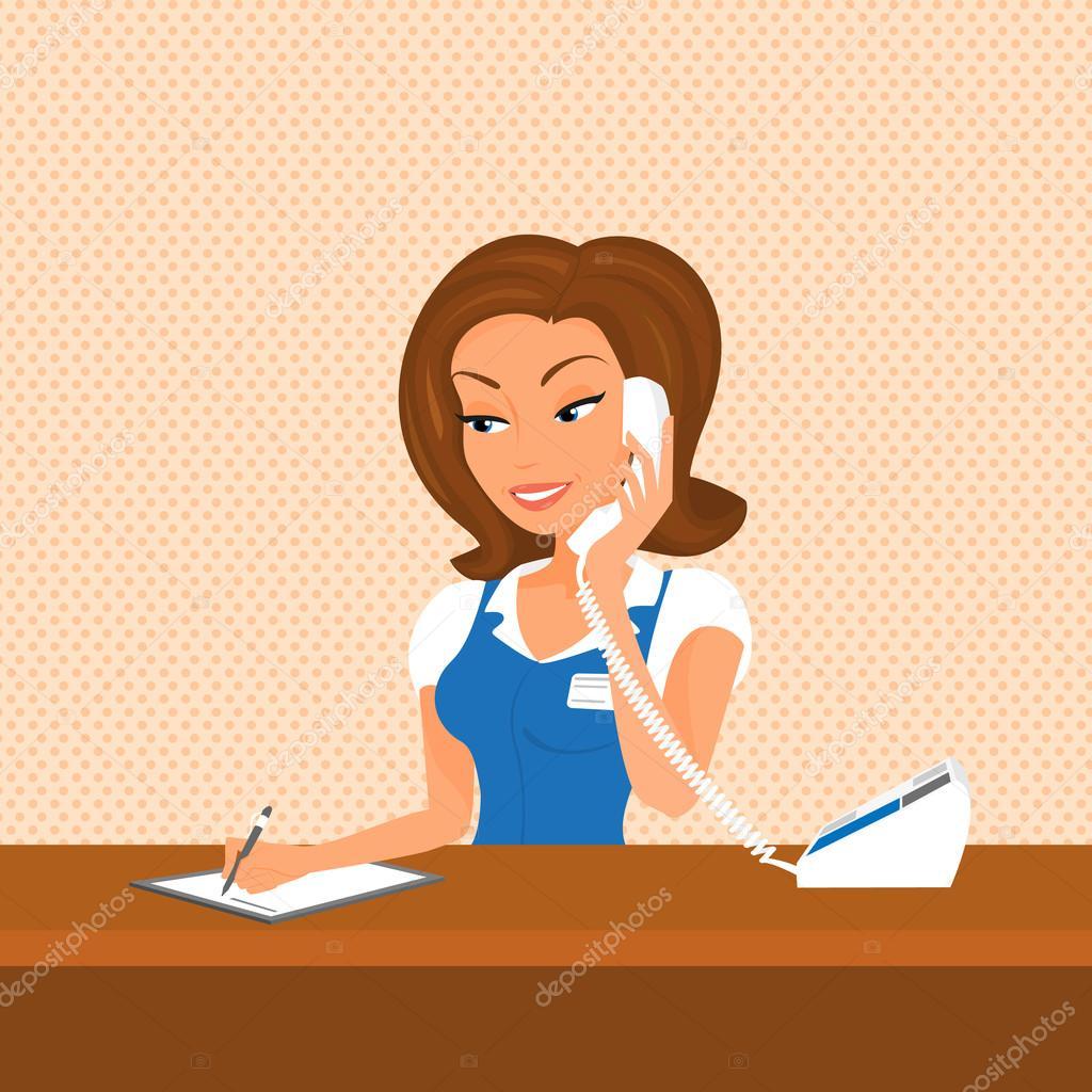 Áˆ Receptionist Cartoon Stock Images Royalty Free Receptionist Illustrations Download On Depositphotos