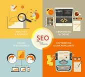 Photo Infographic flat concept illustration of SEO