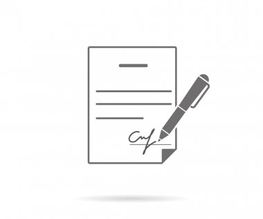 Business contract with signature