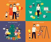 Fényképek Család, gyermek koncepció lapos ikonok beállítása