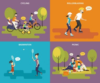 Family with children kids people concept flat icons set of cycling, rollerblading, play badminton and picnic stock vector