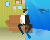 Fotografia Felice ragazzo sta facendo immersioni subacquee in realtà virtuale