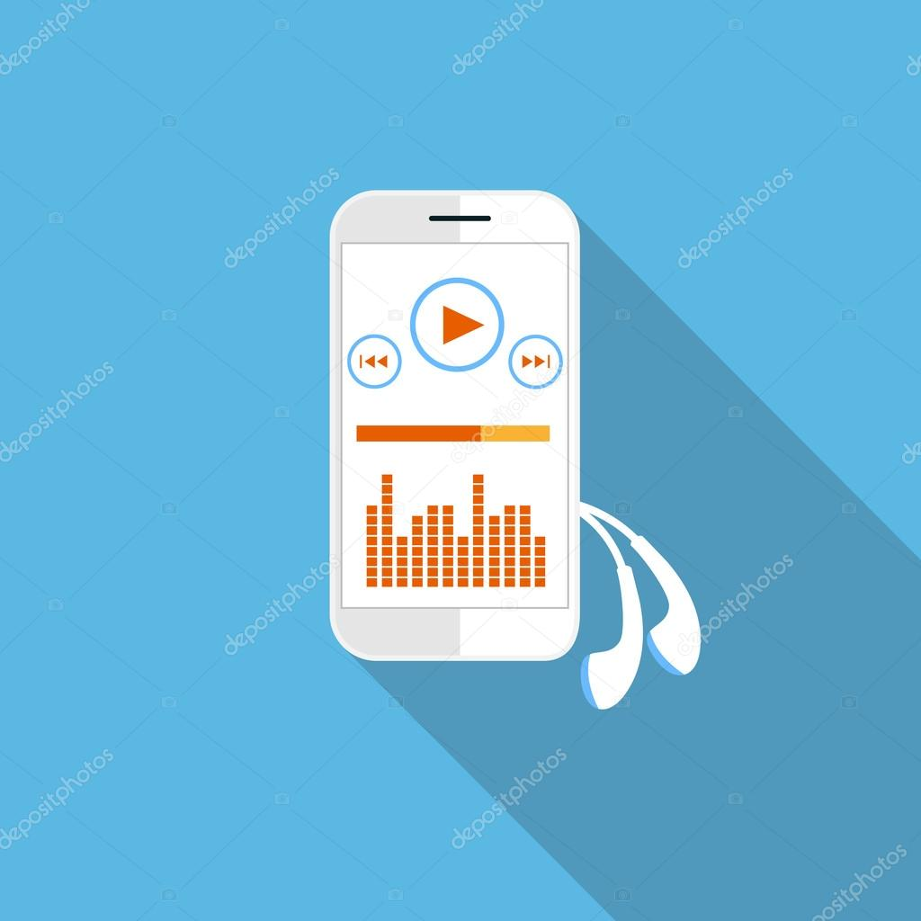 Smartphone music player with streaming application on blue background stock vector