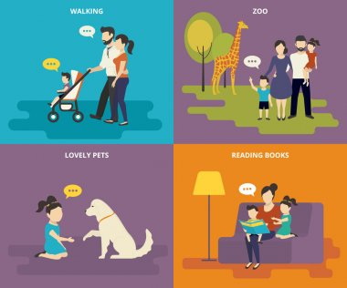 Family with children concept flat icons set