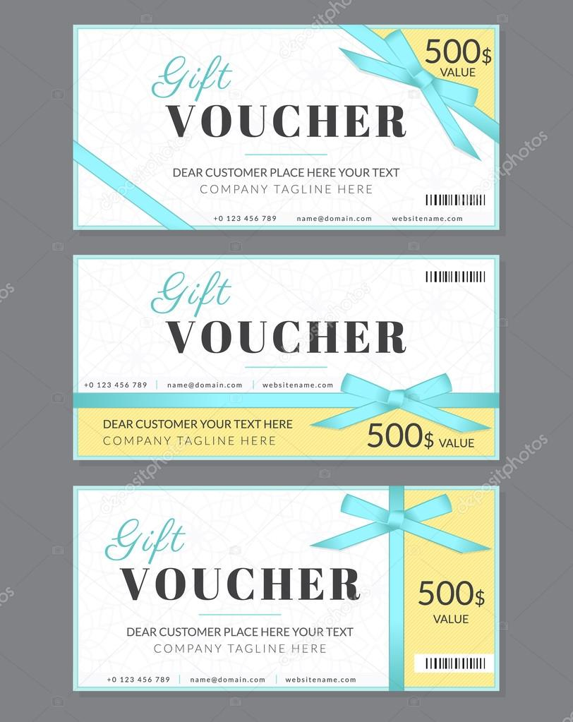 Gift voucher template with blue silk ribbon and a bow — Stock Vector ...