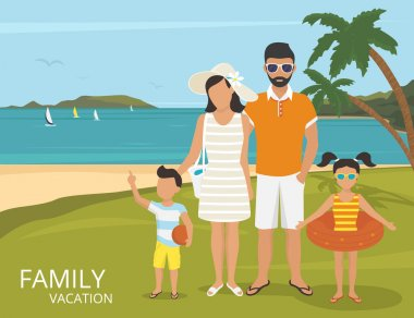 Happy family vacations illustration flat design