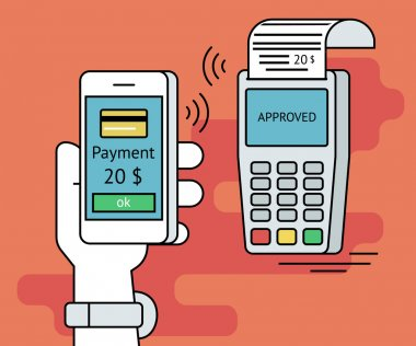 Illustration of mobile payment via smartphone