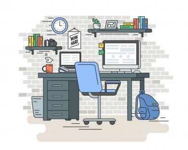 Student workplace room interior