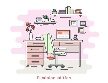 Feminine workplace room interior