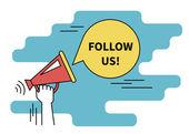 Fényképek Kövesse velünk a banner a szociális hálózatok. Lapos vonalnak kontúr illusztrációja emberi kéz tartja piros megafon