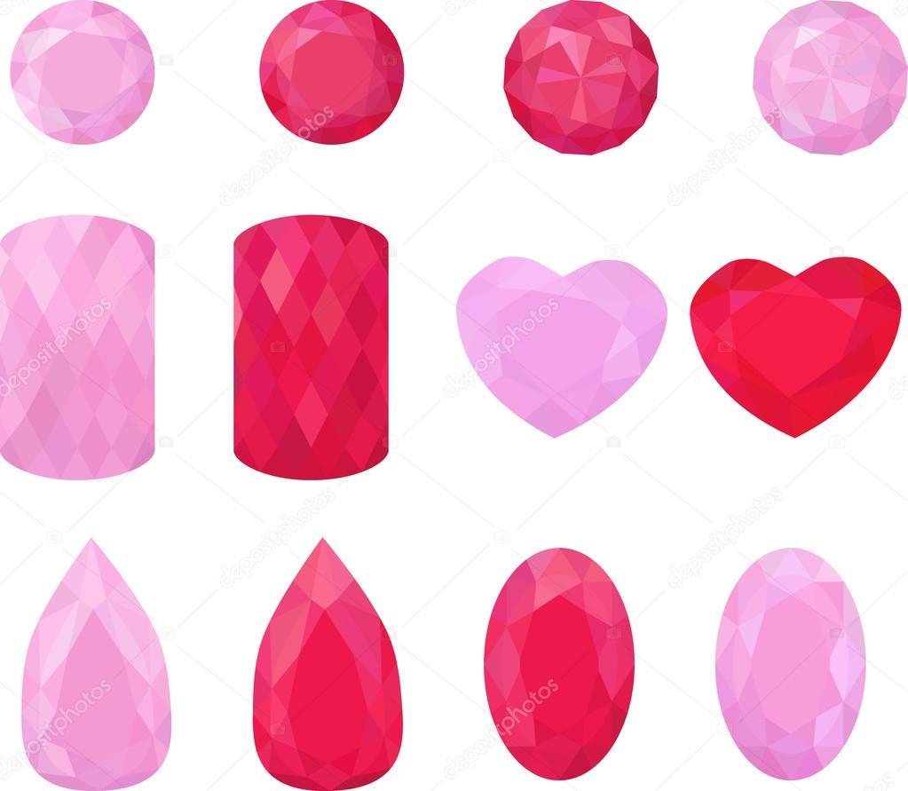 8bc613e09 Rózsaszín és piros ékszerek gyűjteménye. Színes drágakövek. Rubin ...