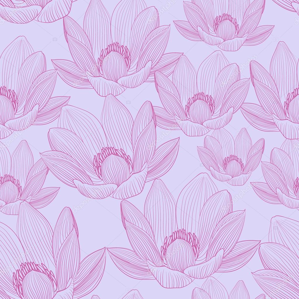 Lindo Patrón Transparente Con Flores De Loto Rosa. Fondos