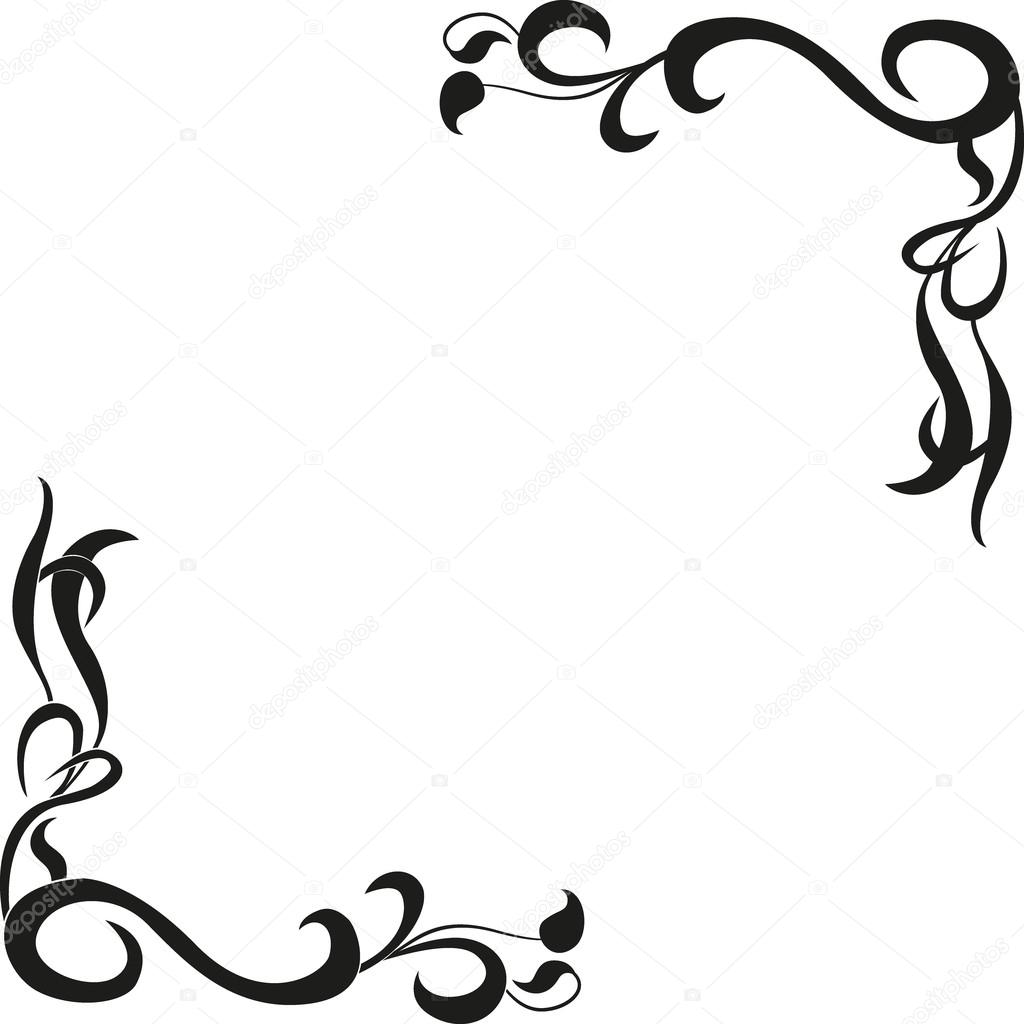 Calligraphic design element of frame and page decoration — Stock ...