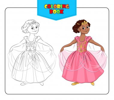 Little girl in carnival costume Princess. Coloring book