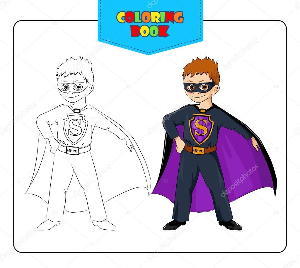Niño de carnaval traje de superhéroe. Libro para colorear — Vector ...