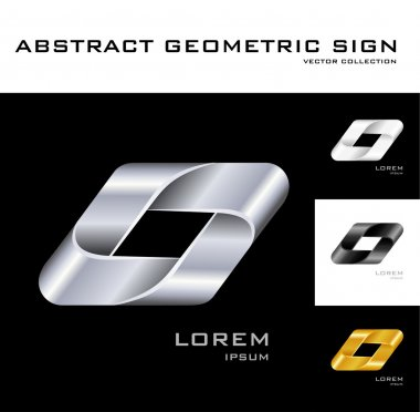 Geometrical sign logo design template black white gold silver