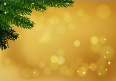 Gold background with fir branch