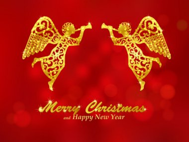 Merry Christmas red background with angels
