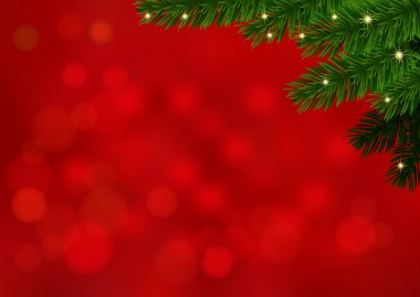 Red background with fir branch