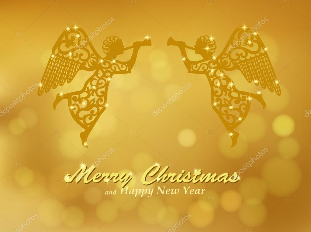Angels Christmas Background.Merry Christmas Gold Background With Angels Stock Vector
