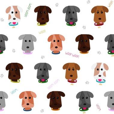 Seamless puppy background. Cartoon style. Pattern.