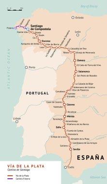 Via de la Plata map. Camino De Santiago, Spain.