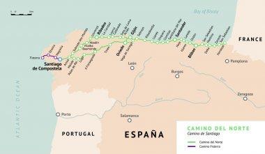 Camino del Norte map. Camino De Santiago. Spain.