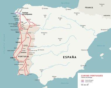 Camino Portugues map. Camino De Santiago Portugal