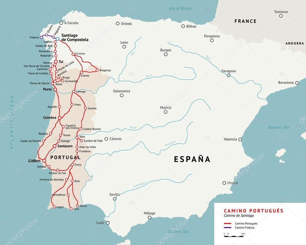 Camino Portugues Map Camino De Santiago Portugal Stock Vector