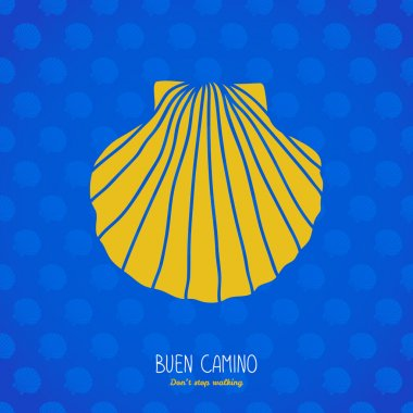 Buen camino! Yellow shell on the blue background.