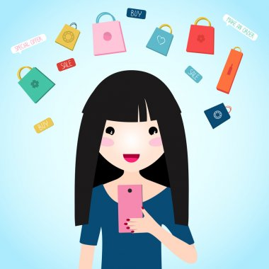 Young girl buys products over the internet.
