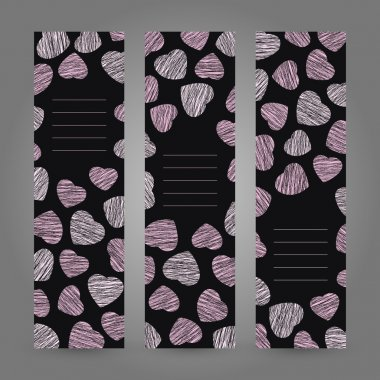 Set of Valentine's Day vertical banners. Pink hearts ornament. Vector Illustration.