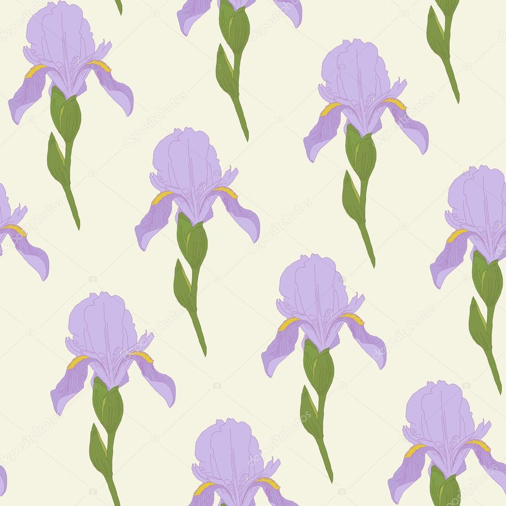Pale Iris flowers on a bright green background. Floral seamless pattern.